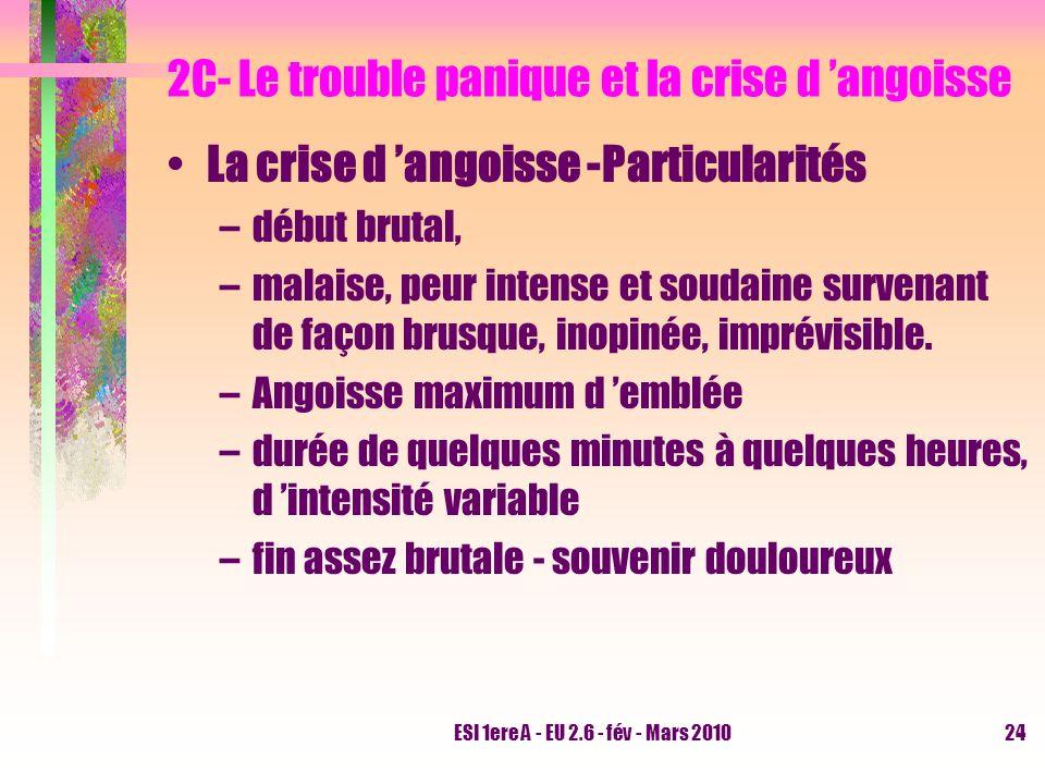 ESI 1ere A - EU 2.6 - fév - Mars 201024 2C- Le trouble panique et la crise d angoisse La crise d angoisse -Particularités –début brutal, –malaise, peu