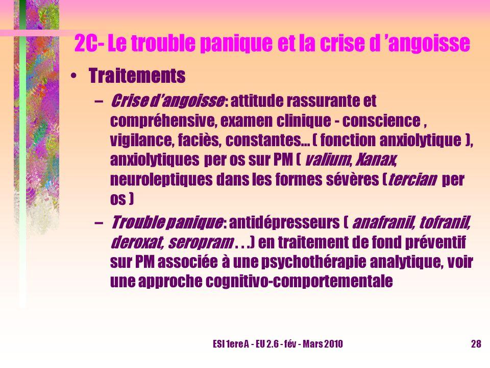 ESI 1ere A - EU 2.6 - fév - Mars 201028 2C- Le trouble panique et la crise d angoisse Traitements –Crise dangoisse : attitude rassurante et compréhens