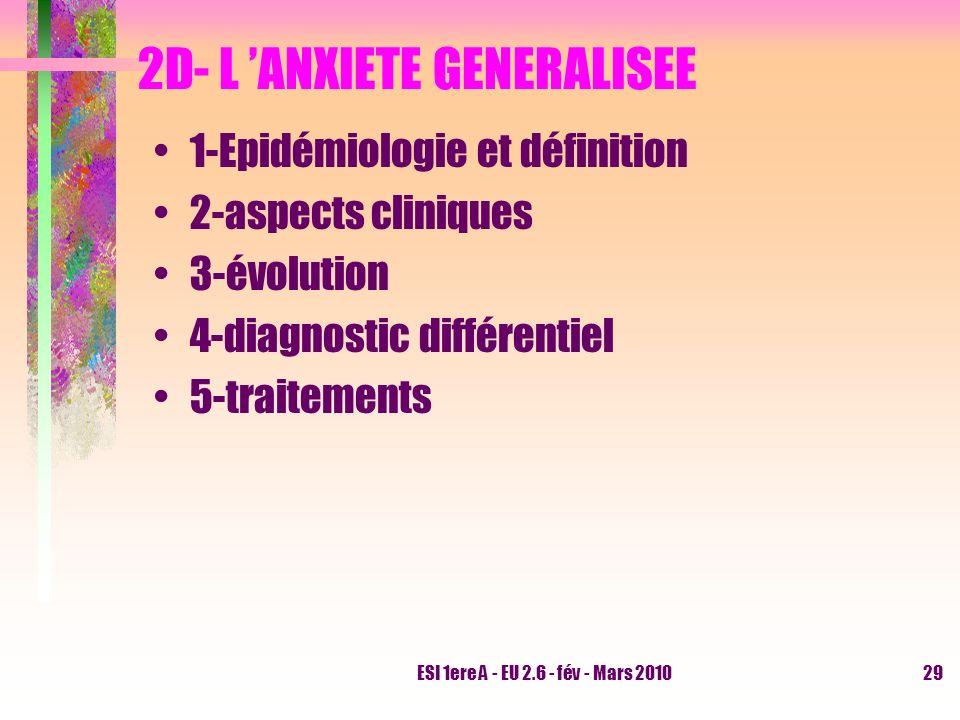ESI 1ere A - EU 2.6 - fév - Mars 201029 2D- L ANXIETE GENERALISEE 1-Epidémiologie et définition 2-aspects cliniques 3-évolution 4-diagnostic différent