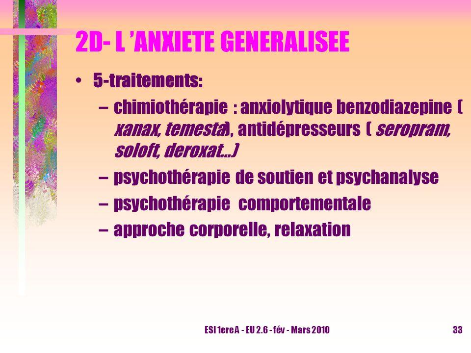ESI 1ere A - EU 2.6 - fév - Mars 201033 2D- L ANXIETE GENERALISEE 5-traitements: –chimiothérapie : anxiolytique benzodiazepine ( xanax, temesta), anti