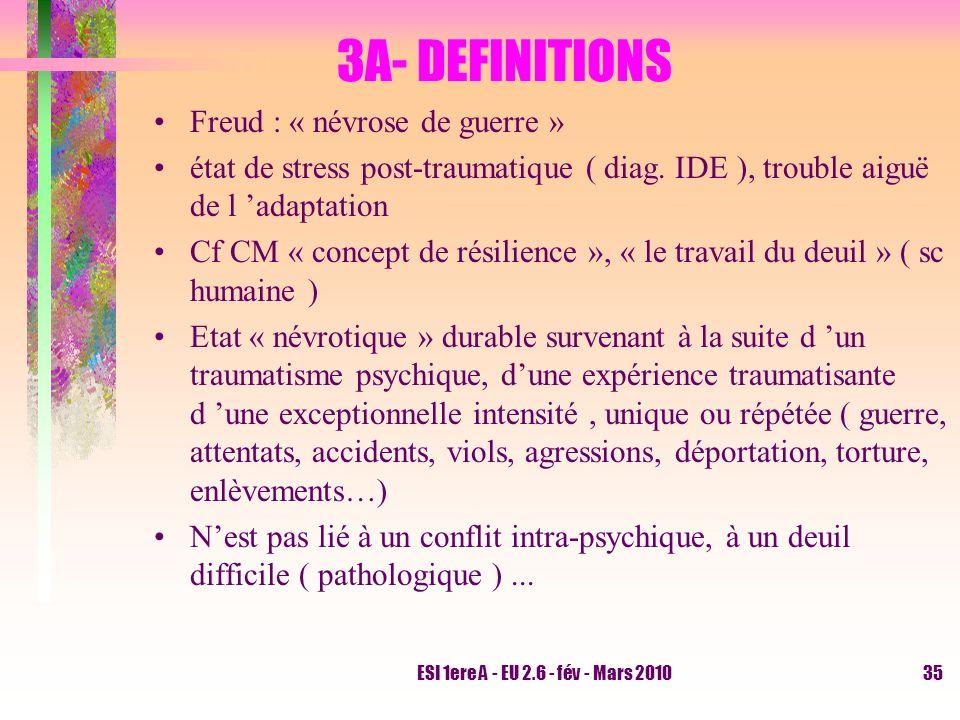 ESI 1ere A - EU 2.6 - fév - Mars 201035 3A- DEFINITIONS Freud : « névrose de guerre » état de stress post-traumatique ( diag. IDE ), trouble aiguë de