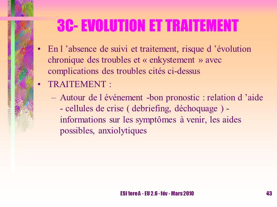 ESI 1ere A - EU 2.6 - fév - Mars 201043 3C- EVOLUTION ET TRAITEMENT En l absence de suivi et traitement, risque d évolution chronique des troubles et