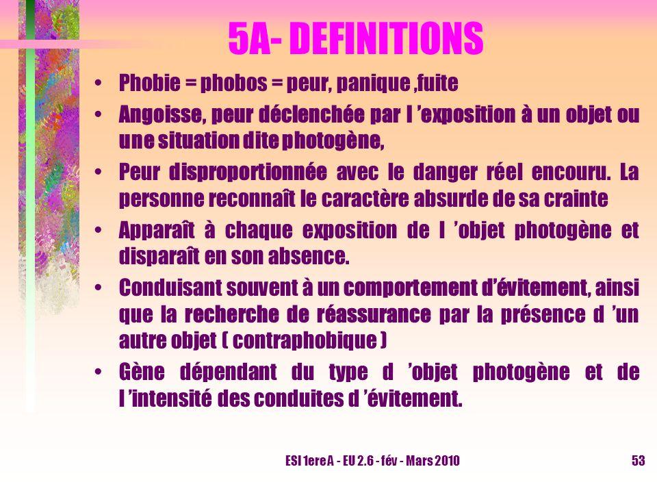 ESI 1ere A - EU 2.6 - fév - Mars 201053 5A- DEFINITIONS Phobie = phobos = peur, panique,fuite Angoisse, peur déclenchée par l exposition à un objet ou