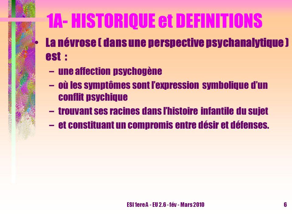 ESI 1ere A - EU 2.6 - fév - Mars 20106 1A- HISTORIQUE et DEFINITIONS La névrose ( dans une perspective psychanalytique ) est : –une affection psychogè