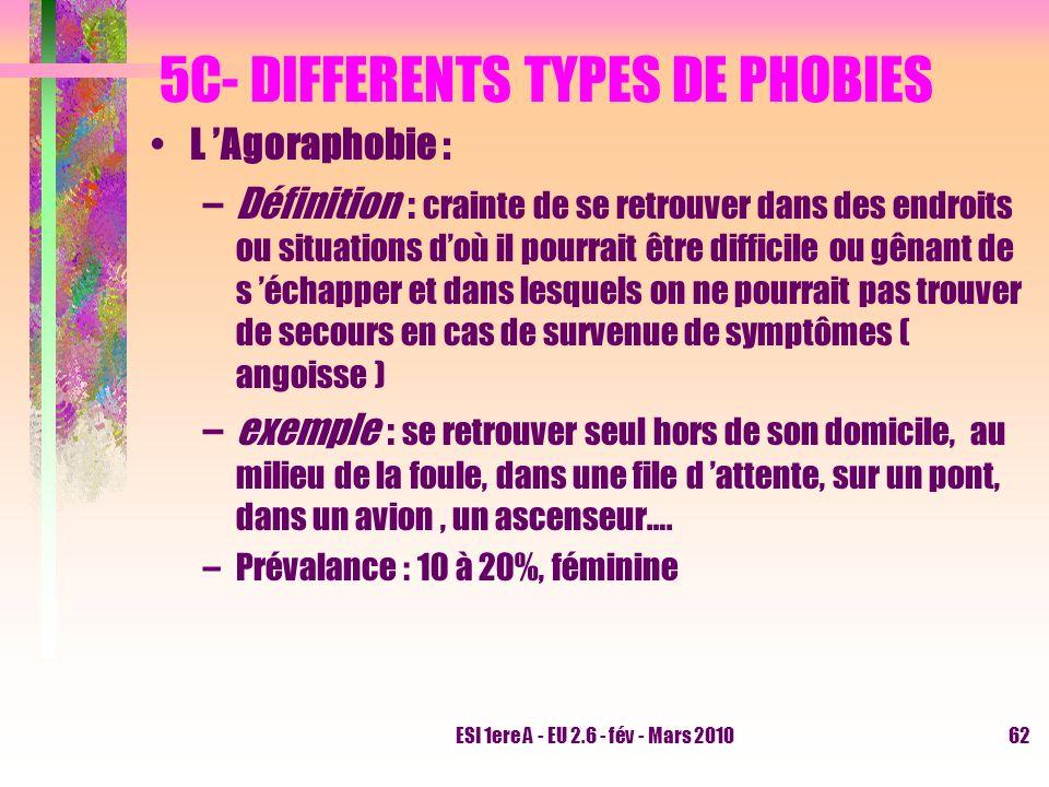 ESI 1ere A - EU 2.6 - fév - Mars 201062 5C- DIFFERENTS TYPES DE PHOBIES L Agoraphobie : –Définition : crainte de se retrouver dans des endroits ou sit