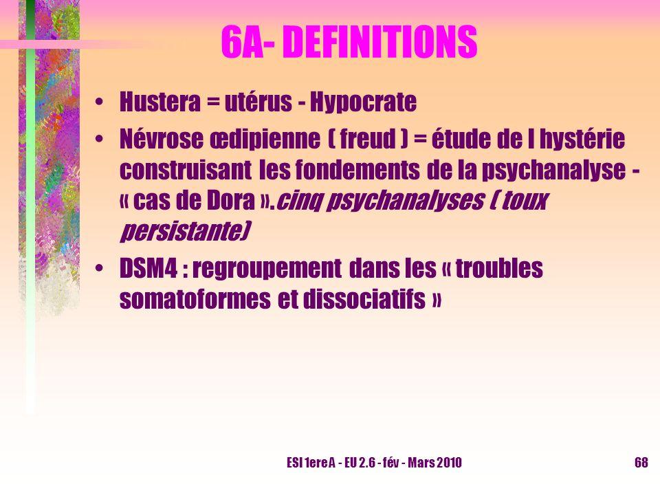 ESI 1ere A - EU 2.6 - fév - Mars 201068 6A- DEFINITIONS Hustera = utérus - Hypocrate Névrose œdipienne ( freud ) = étude de l hystérie construisant le