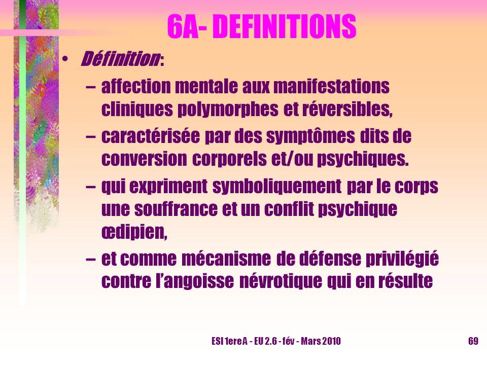 ESI 1ere A - EU 2.6 - fév - Mars 201069 6A- DEFINITIONS Définition : –affection mentale aux manifestations cliniques polymorphes et réversibles, –cara