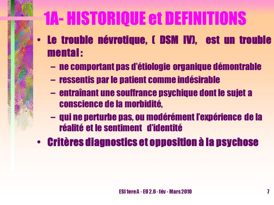 ESI 1ere A - EU 2.6 - fév - Mars 20107 1A- HISTORIQUE et DEFINITIONS Le trouble névrotique, ( DSM IV), est un trouble mental : –ne comportant pas déti