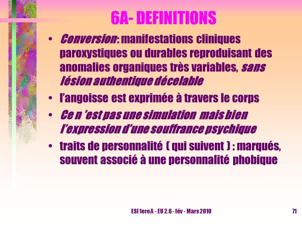 ESI 1ere A - EU 2.6 - fév - Mars 201071 6A- DEFINITIONS Conversion : manifestations cliniques paroxystiques ou durables reproduisant des anomalies org