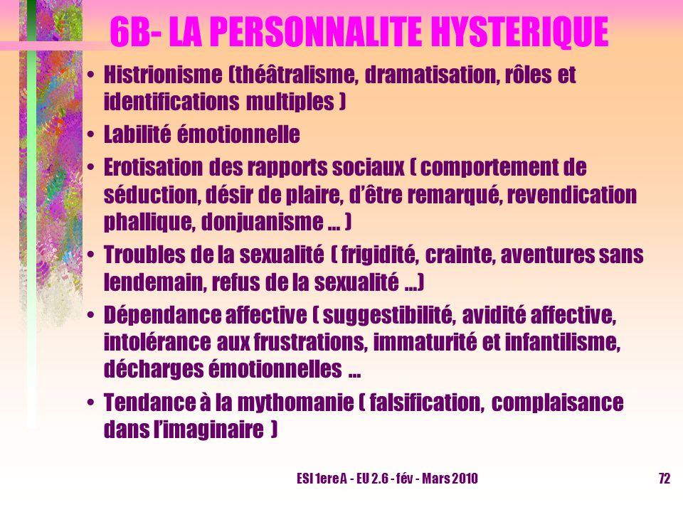 ESI 1ere A - EU 2.6 - fév - Mars 201072 6B- LA PERSONNALITE HYSTERIQUE Histrionisme (théâtralisme, dramatisation, rôles et identifications multiples )