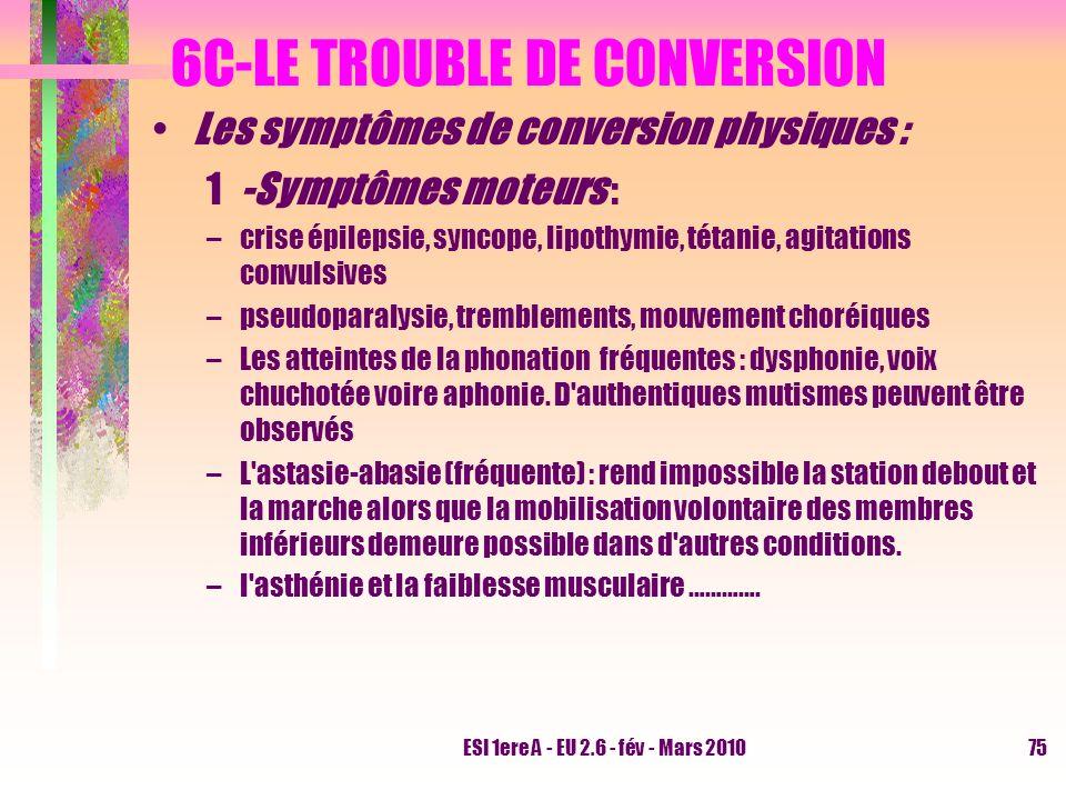 ESI 1ere A - EU 2.6 - fév - Mars 201075 6C-LE TROUBLE DE CONVERSION Les symptômes de conversion physiques : 1-Symptômes moteurs : –crise épilepsie, sy