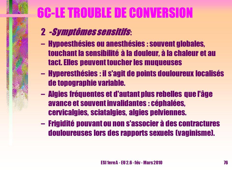 ESI 1ere A - EU 2.6 - fév - Mars 201076 6C-LE TROUBLE DE CONVERSION 2-Symptômes sensitifs : –Hypoesthésies ou anesthésies : souvent globales, touchant