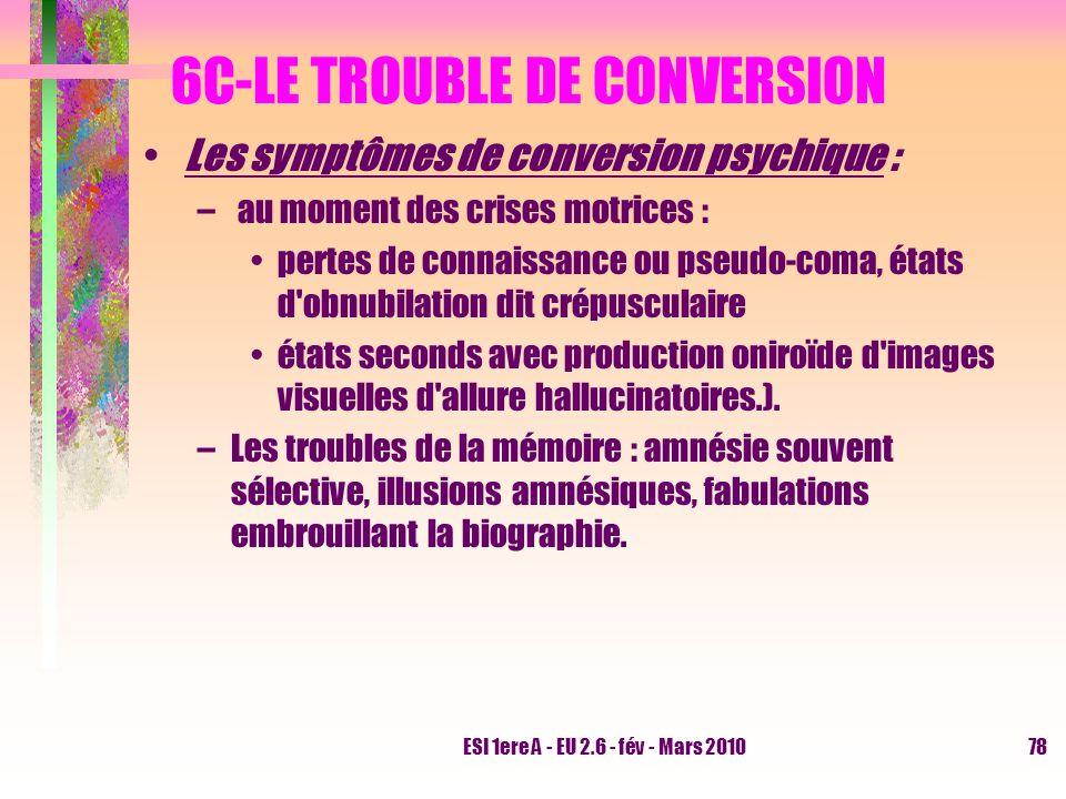 ESI 1ere A - EU 2.6 - fév - Mars 201078 6C-LE TROUBLE DE CONVERSION Les symptômes de conversion psychique : – au moment des crises motrices : pertes d