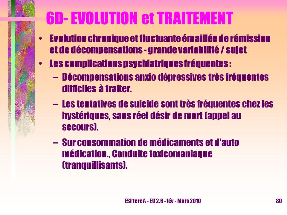 ESI 1ere A - EU 2.6 - fév - Mars 201080 6D- EVOLUTION et TRAITEMENT Evolution chronique et fluctuante émaillée de rémission et de décompensations - gr