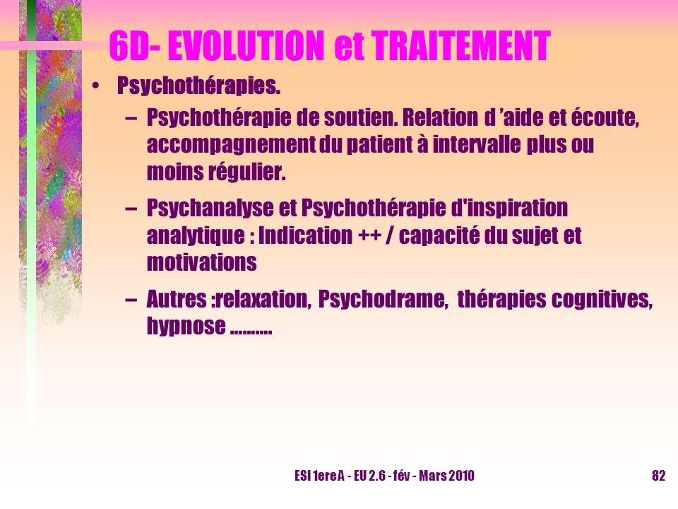 ESI 1ere A - EU 2.6 - fév - Mars 201082 6D- EVOLUTION et TRAITEMENT Psychothérapies. –Psychothérapie de soutien. Relation d aide et écoute, accompagne
