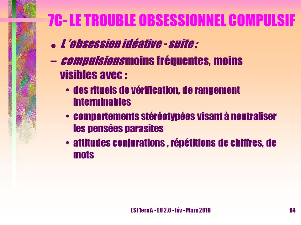 ESI 1ere A - EU 2.6 - fév - Mars 201094 7C- LE TROUBLE OBSESSIONNEL COMPULSIF L obsession idéative - suite : –compulsions moins fréquentes, moins visi