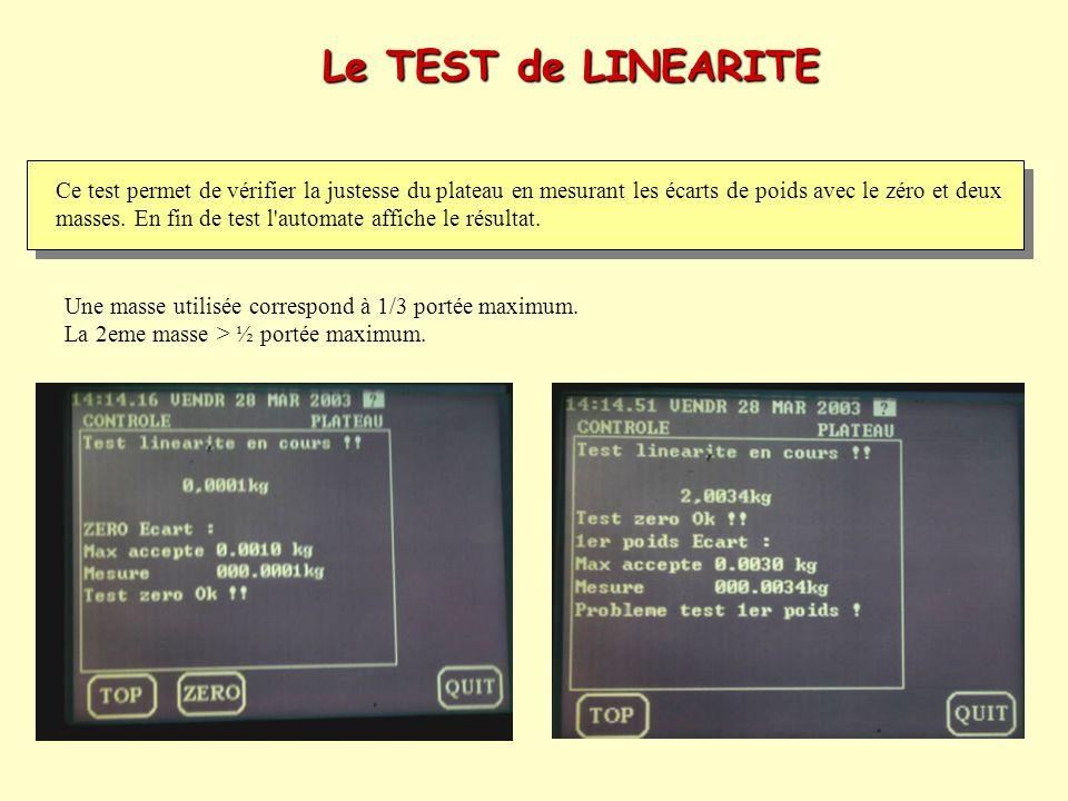 Le TEST de LINEARITE Ce test permet de vérifier la justesse du plateau en mesurant les écarts de poids avec le zéro et deux masses. En fin de test l'a