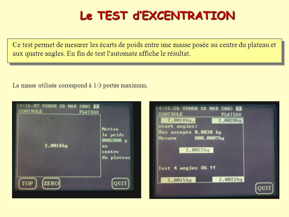 Le TEST dEXCENTRATION Ce test permet de mesurer les écarts de poids entre une masse posée au centre du plateau et aux quatre angles. En fin de test l'