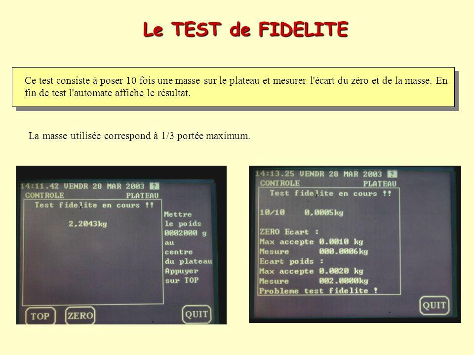 Le TEST de FIDELITE Ce test consiste à poser 10 fois une masse sur le plateau et mesurer l'écart du zéro et de la masse. En fin de test l'automate aff