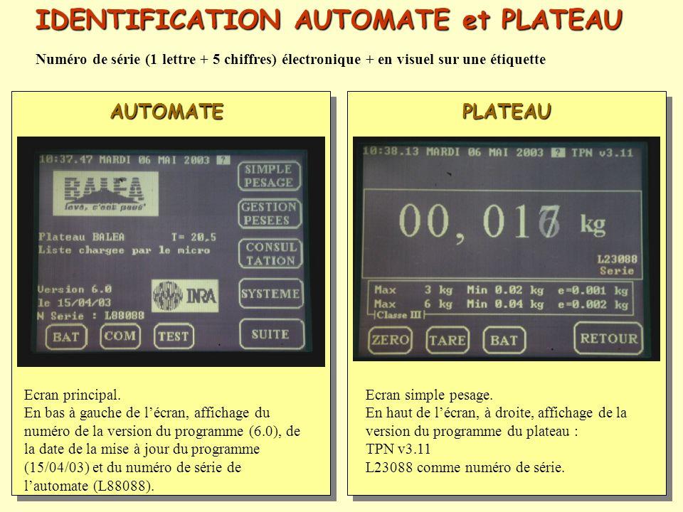 IDENTIFICATION AUTOMATE et PLATEAU Ecran principal. En bas à gauche de lécran, affichage du numéro de la version du programme (6.0), de la date de la