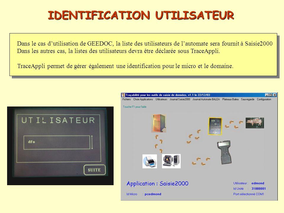 IDENTIFICATION UTILISATEUR Dans le cas dutilisation de GEEDOC, la liste des utilisateurs de lautomate sera fournit à Saisie2000 Dans les autres cas, l