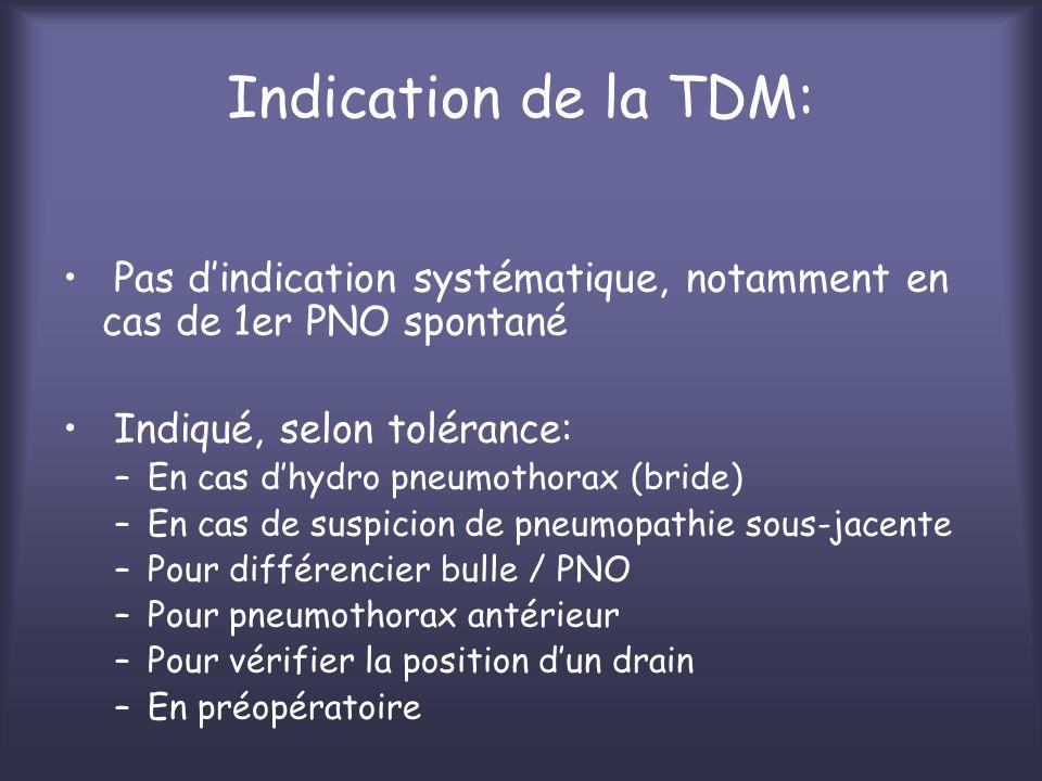 Indication de la TDM: Pas dindication systématique, notamment en cas de 1er PNO spontané Indiqué, selon tolérance: –En cas dhydro pneumothorax (bride)