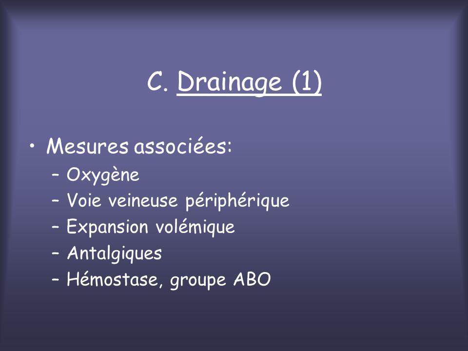 C. Drainage (1) Mesures associées: –Oxygène –Voie veineuse périphérique –Expansion volémique –Antalgiques –Hémostase, groupe ABO