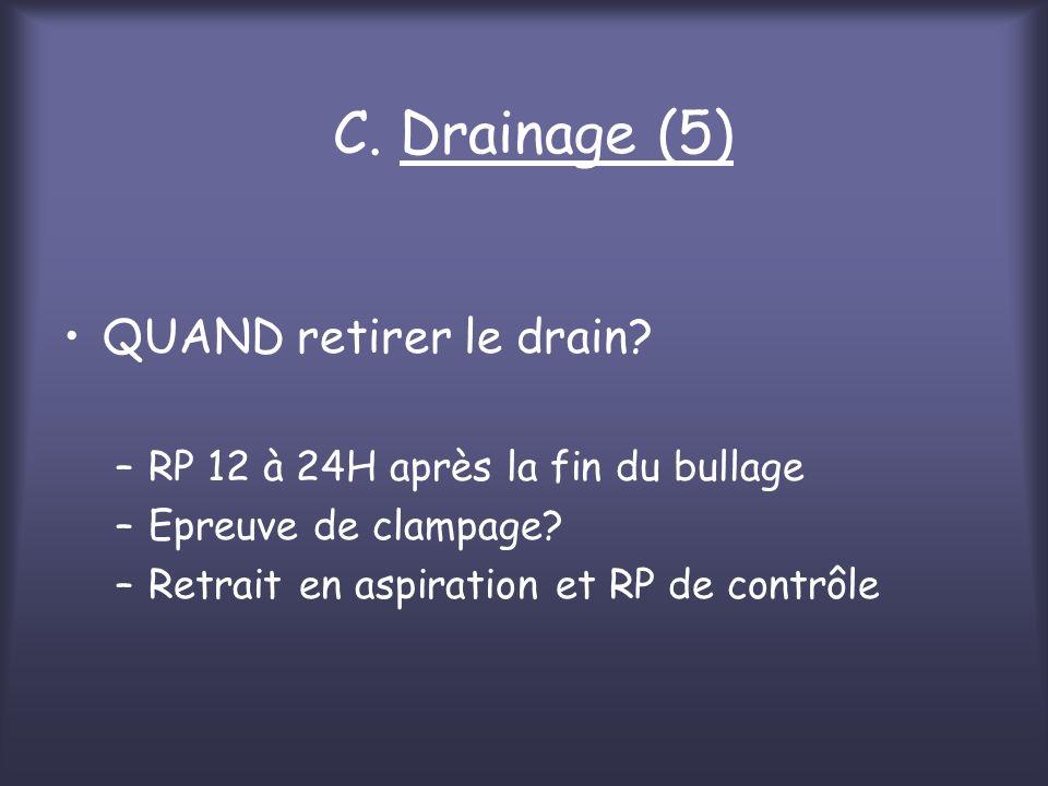 C. Drainage (5) QUAND retirer le drain? –RP 12 à 24H après la fin du bullage –Epreuve de clampage? –Retrait en aspiration et RP de contrôle