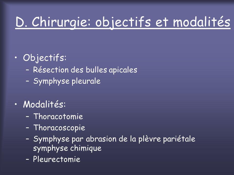 D. Chirurgie: objectifs et modalités Objectifs: –Résection des bulles apicales –Symphyse pleurale Modalités: –Thoracotomie –Thoracoscopie –Symphyse pa