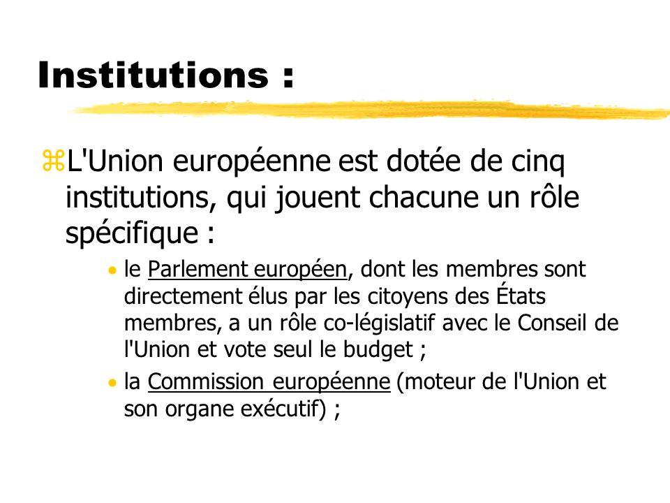 Institutions : zL'Union européenne est dotée de cinq institutions, qui jouent chacune un rôle spécifique : le Parlement européen, dont les membres son