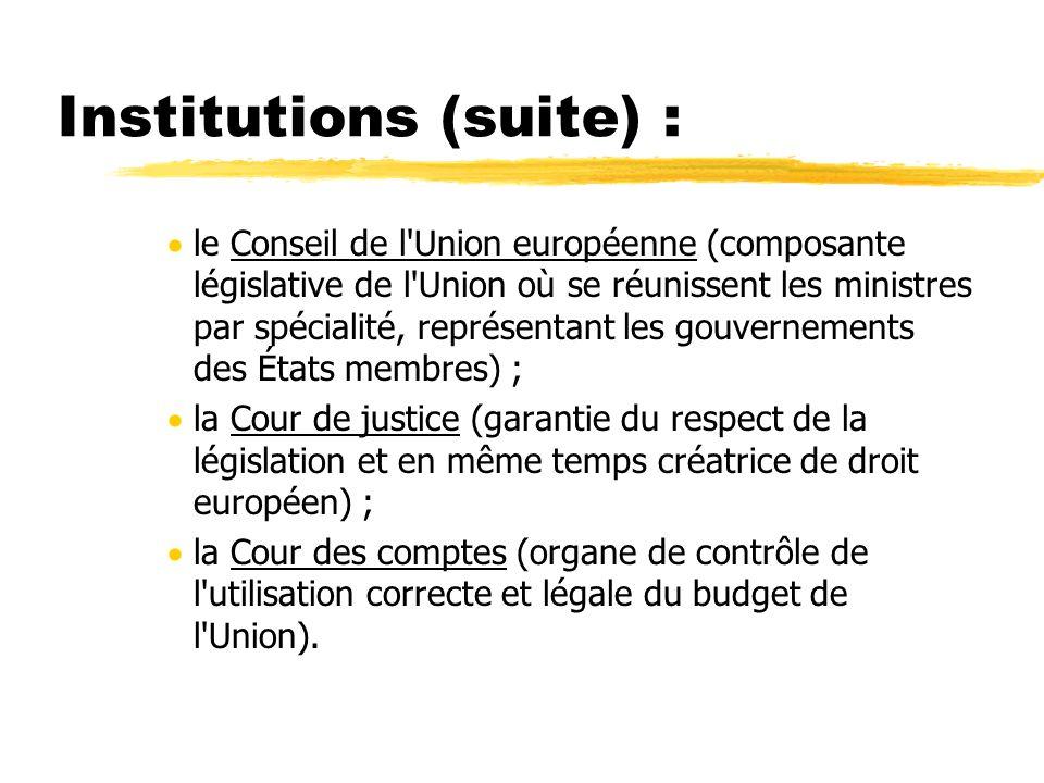 Institutions (suite) : le Conseil de l'Union européenne (composante législative de l'Union où se réunissent les ministres par spécialité, représentant