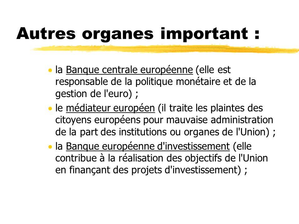 Autres organes important : la Banque centrale européenne (elle est responsable de la politique monétaire et de la gestion de l'euro) ; le médiateur eu