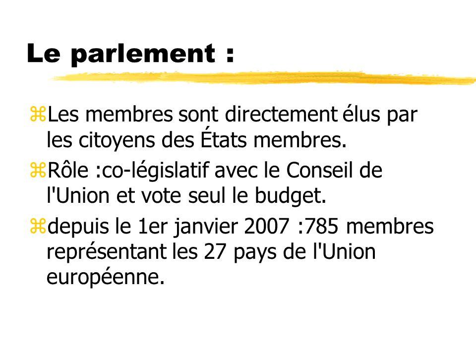 Le parlement : zLes membres sont directement élus par les citoyens des États membres. zRôle :co-législatif avec le Conseil de l'Union et vote seul le