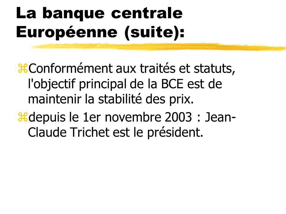 La banque centrale Européenne (suite): zConformément aux traités et statuts, l'objectif principal de la BCE est de maintenir la stabilité des prix. zd
