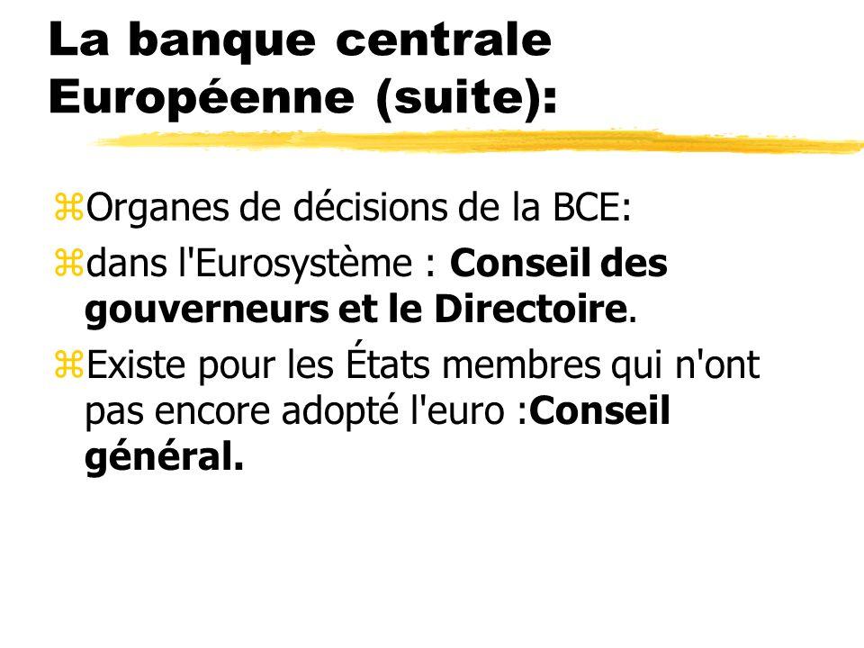 La banque centrale Européenne (suite): zOrganes de décisions de la BCE: zdans l'Eurosystème : Conseil des gouverneurs et le Directoire. zExiste pour l