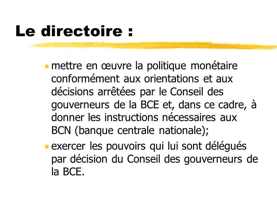 Le directoire : mettre en œuvre la politique monétaire conformément aux orientations et aux décisions arrêtées par le Conseil des gouverneurs de la BC