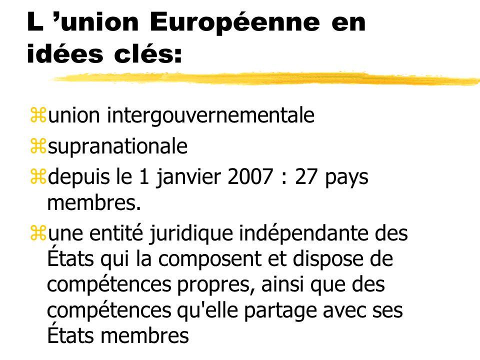 L union Européenne en idées clés: zunion intergouvernementale zsupranationale zdepuis le 1 janvier 2007 : 27 pays membres. zune entité juridique indép