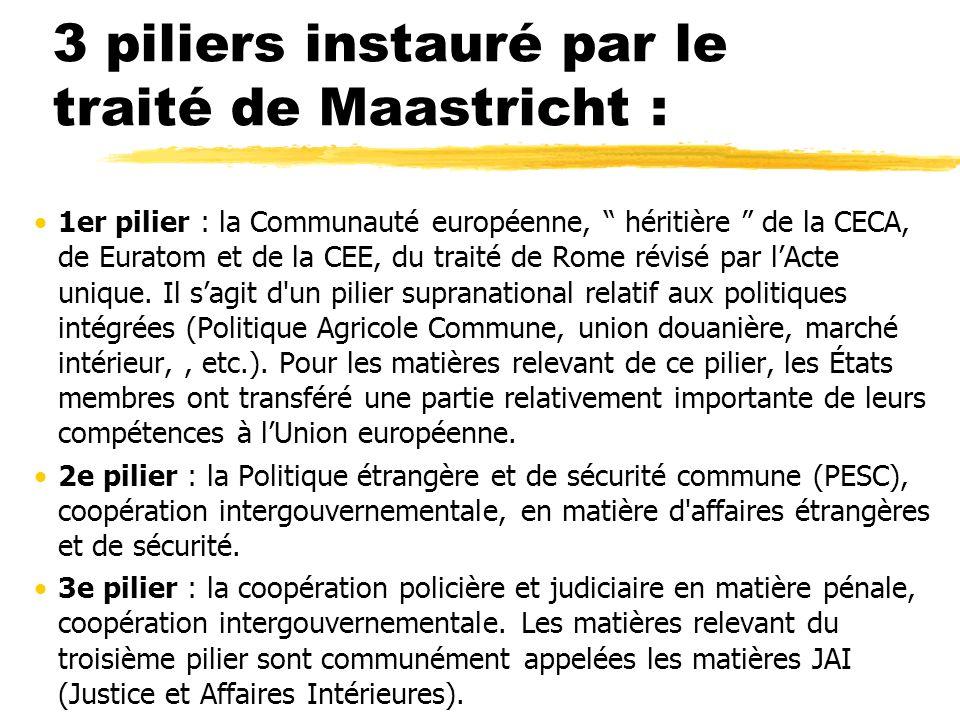 3 piliers instauré par le traité de Maastricht : 1er pilier : la Communauté européenne, héritière de la CECA, de Euratom et de la CEE, du traité de Ro