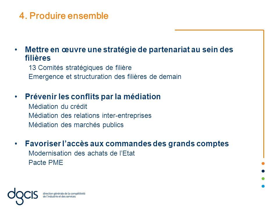 4. Produire ensemble Mettre en œuvre une stratégie de partenariat au sein des filières 13 Comités stratégiques de filière Emergence et structuration d