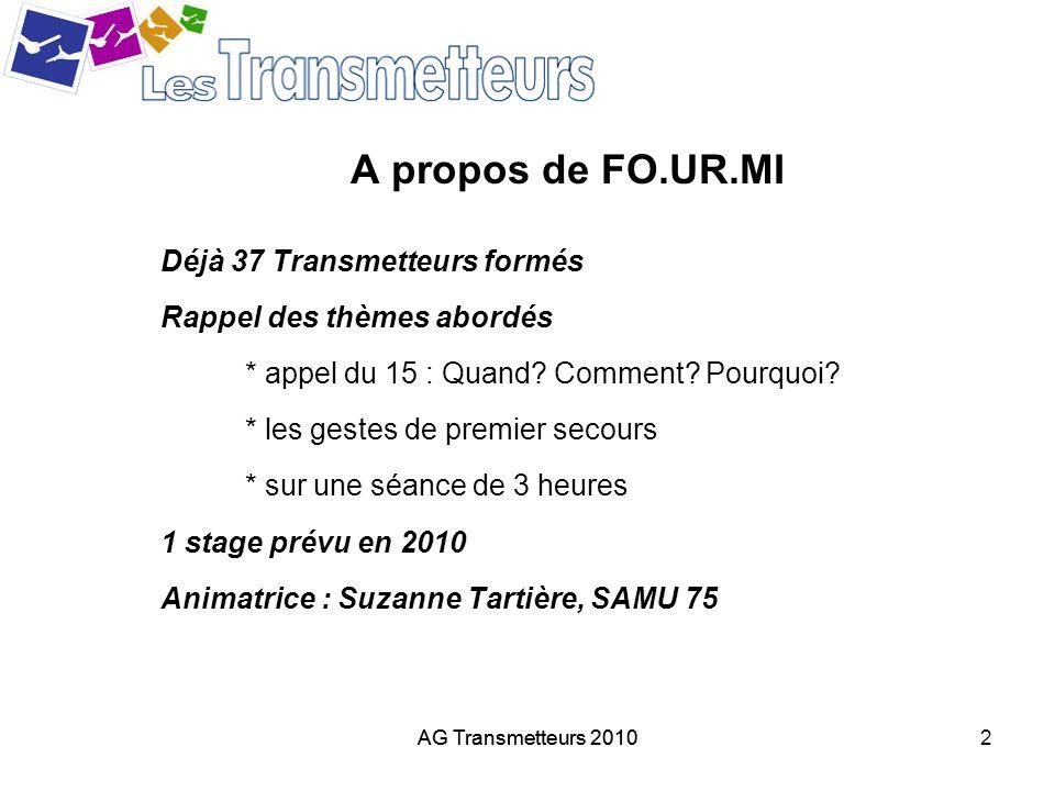 AG Transmetteurs 20102 A propos de FO.UR.MI Déjà 37 Transmetteurs formés Rappel des thèmes abordés * appel du 15 : Quand? Comment? Pourquoi? * les ges