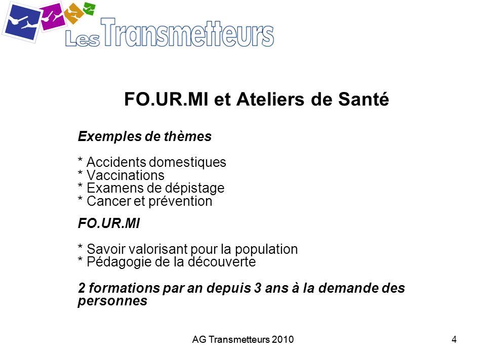 AG Transmetteurs 20104 FO.UR.MI et Ateliers de Santé Exemples de thèmes * Accidents domestiques * Vaccinations * Examens de dépistage * Cancer et prév