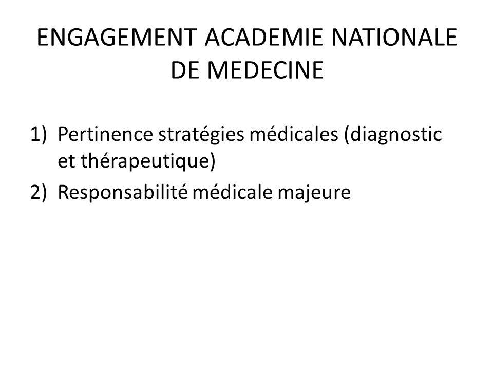 ENGAGEMENT ACADEMIE NATIONALE DE MEDECINE 1)Pertinence stratégies médicales (diagnostic et thérapeutique) 2)Responsabilité médicale majeure
