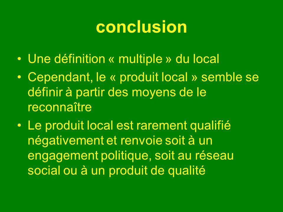 conclusion Une définition « multiple » du local Cependant, le « produit local » semble se définir à partir des moyens de le reconnaître Le produit local est rarement qualifié négativement et renvoie soit à un engagement politique, soit au réseau social ou à un produit de qualité