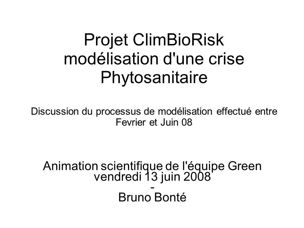 Forum Recherche - Partenariat Risques Phytosanitaires Emergents , Montpellier 10-11 mars 2008 BemisiaRisk / ANR-ADD & ClimBioRisk / PSDR3-LR Réalisation (2) a) Modèle conceptuel