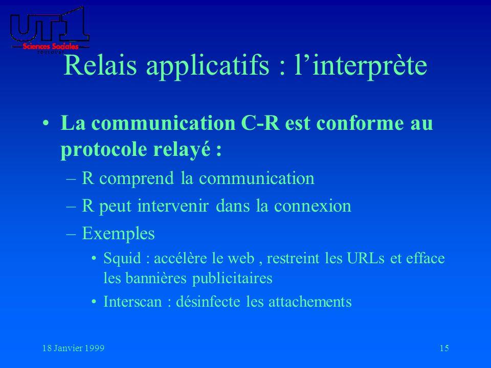 18 Janvier 199915 Relais applicatifs : linterprète La communication C-R est conforme au protocole relayé : –R comprend la communication –R peut interv