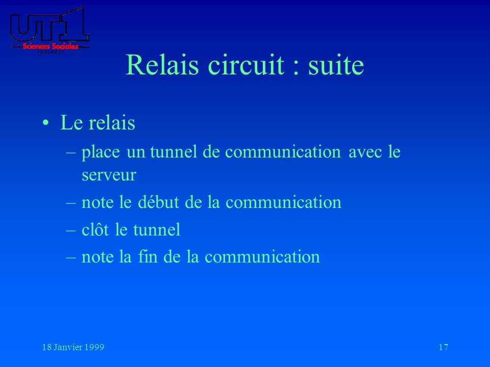 18 Janvier 199917 Relais circuit : suite Le relais –place un tunnel de communication avec le serveur –note le début de la communication –clôt le tunne