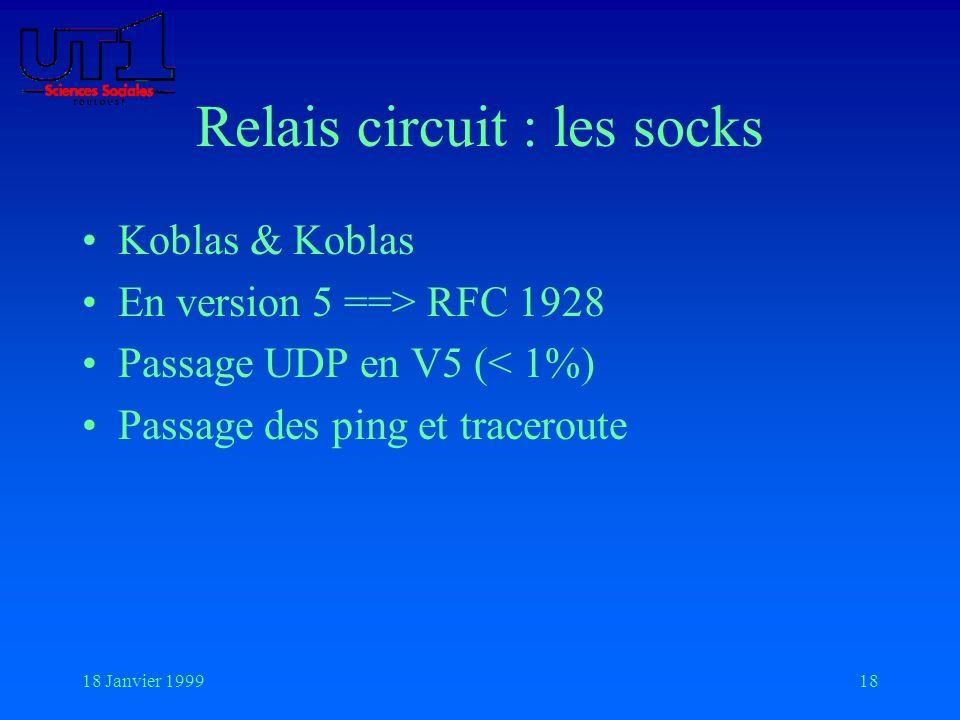 18 Janvier 199918 Relais circuit : les socks Koblas & Koblas En version 5 ==> RFC 1928 Passage UDP en V5 (< 1%) Passage des ping et traceroute