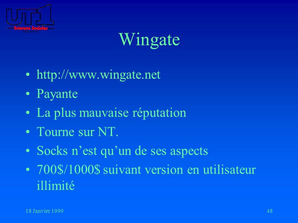 18 Janvier 199948 Wingate http://www.wingate.net Payante La plus mauvaise réputation Tourne sur NT. Socks nest quun de ses aspects 700$/1000$ suivant
