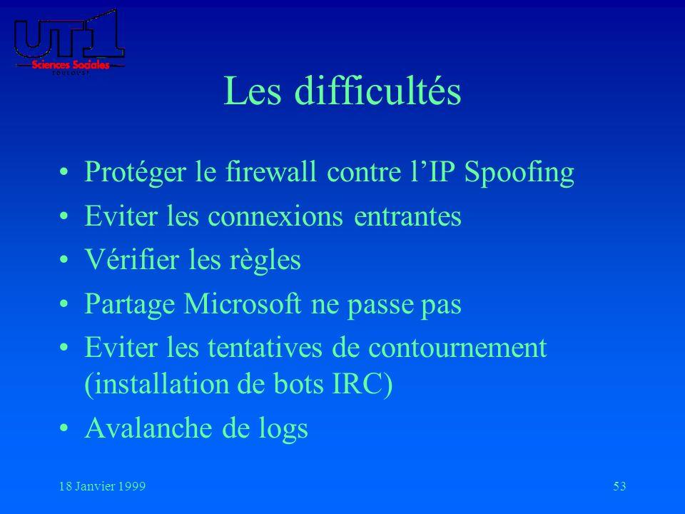 18 Janvier 199953 Les difficultés Protéger le firewall contre lIP Spoofing Eviter les connexions entrantes Vérifier les règles Partage Microsoft ne pa