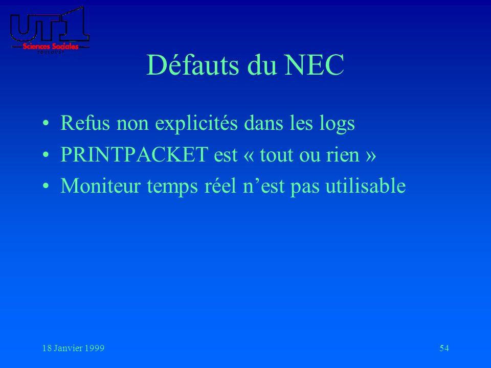 18 Janvier 199954 Défauts du NEC Refus non explicités dans les logs PRINTPACKET est « tout ou rien » Moniteur temps réel nest pas utilisable
